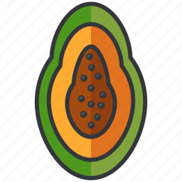 food, fruit, half, health, mango, organic icon