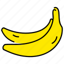 banana, color, food, fruit, healthy, yellow icon