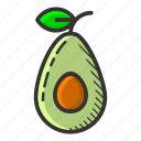 avocado, dessert, food, fruit, healthy, juicy, tropical fruit icon