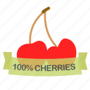 cherries, fruit icon