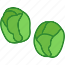 brussels, brussles, cabbages, miniature, sprout, sprouts, two icon