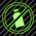 bottle, forbidden, plastic, prohibited, trash icon