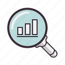 diagram, financial, glass, graph, info, magnifying, statistics icon