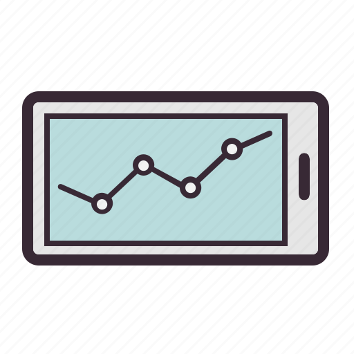 analytics, business, chart, diagram, funds, mobile, statistics icon
