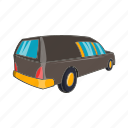 car, cartoon, death, funeral, hearse, sign, transport icon
