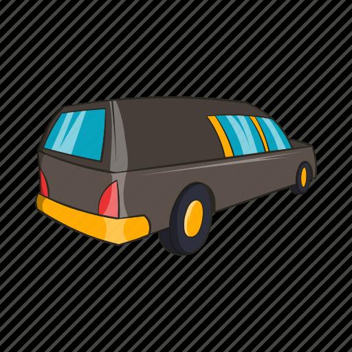 car, cartoon, death, funeral, hearse, sign, transport icon