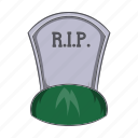 cartoon, death, grave, headstone, rip, sign, tombstone icon