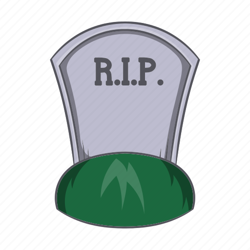 cartoon, death, grave, headstone, rip, sign, tombstone icon