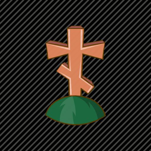 cartoon, christian, christianity, cross, grave, religion, sign icon