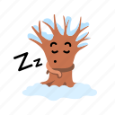 bare, cartoon, mascot, sleep, snow, tree, winter icon