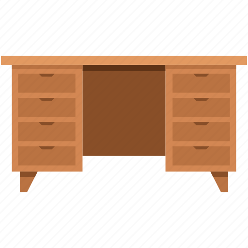 desk, drawer, furniture, study table, table icon