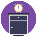 alarm clock, bedside cabinet, bedside table, night table, nightstand icon