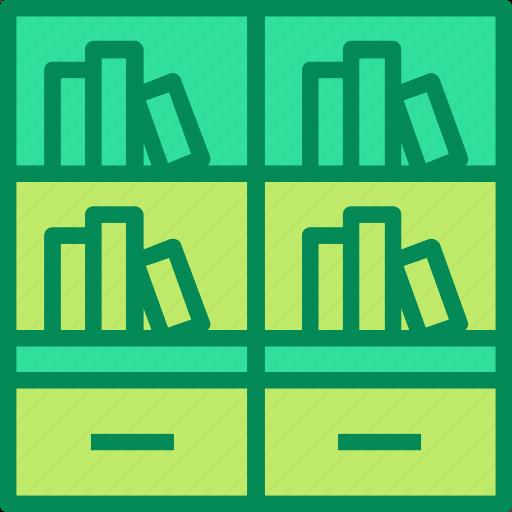 bookcase, books, bookshelf icon