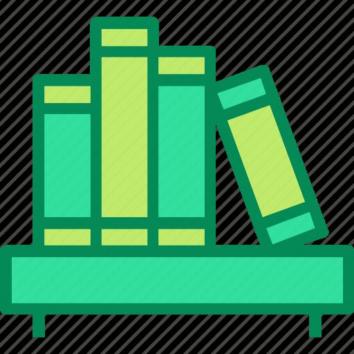 books, bookshelf, library icon