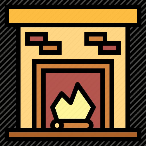 chimney, fireplace, warm icon