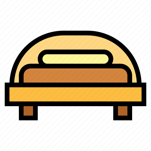 bed, bedroom, furniture, single bed icon