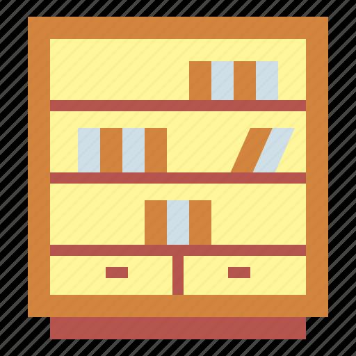 bookcase, bookshelf, furniture, library icon