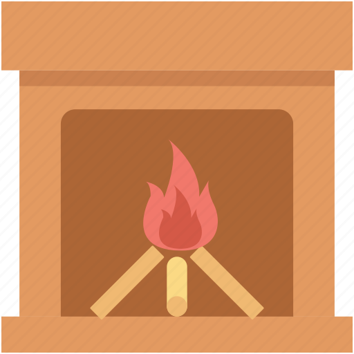 burning fireplace, fire, fireplace, grate, hearth icon