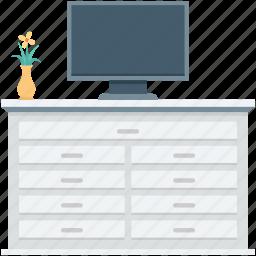 furniture, home interior, monitor, tv bureau, tv trolley icon