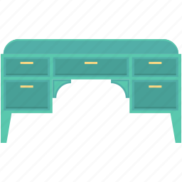 bureau, desk, desk drawer, drawer desk, home furniture icon