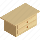 decor, drawer, drawers, furnishings, furniture, table icon