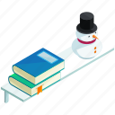 books, furnishing, furniture, interior, shelf, snowman icon