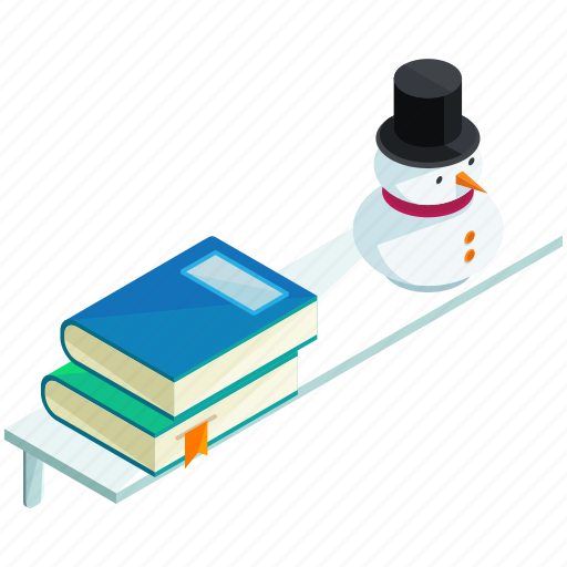 books, furnishing, furniture, interior, shelf, snowman icon