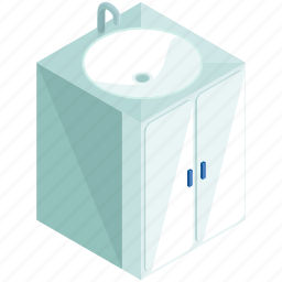 bathroom, cabinet, furniture, restroom, sink icon
