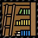 book, bookcase, bookshelf, furniture, library icon