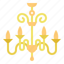 chandelier, decoration, household, light icon