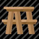 bench, garden, picnic, table