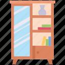 bookcase, cupboard, decor, furnishing, furniture, interior, mirror