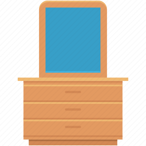 cabinet, drawers, dressing mirror, dressing table, mirror table icon
