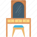 dresser, dressing table, furniture, makeup table, vanity table icon