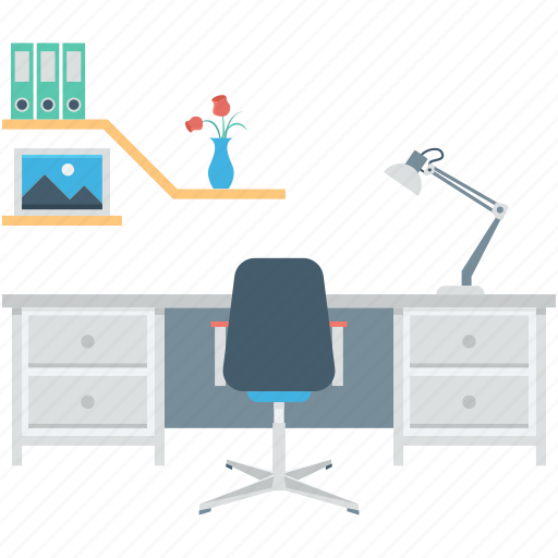 interior, office desk, office furniture, office material, workstation icon