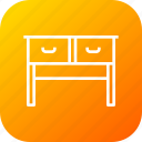 books, drawer, furniture, household, imitation, study, table icon