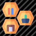 hexagon, shelve, decoration, interior
