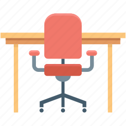 chair, office chair, seat, table, work table icon