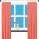 curtain, furniture, home window, room window, window icon