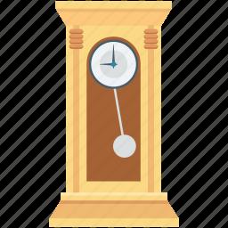 antique clock, grandfather clock, pendulum clock, retro timer, vintage clock icon