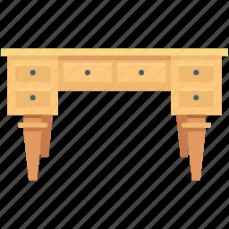 bureau, desk, desk drawer, drawer desk, home furniture icon