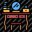 dressing, table, stool, furniture, mirror