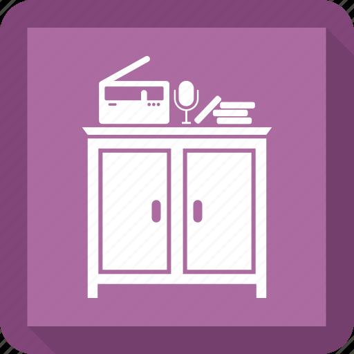 book, cabinet, cupboard, interior, microphone, radio icon