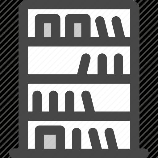 book, bookcase, library, shelf, shelves, study, wall icon