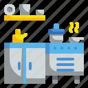 cabinet, furniture, household, interior, kitchen, pot icon