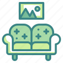 chair, couch, furniture, household, interior, seat, sofa icon