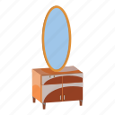 cabinet, cartoon, chest, drawers, furniture, interior, mirror icon