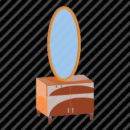 cabinet, cartoon, chest, drawers, furniture, interior, mirror icon