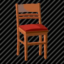 cartoon, chair, furniture, interior, modern, sit, wooden icon