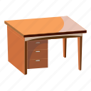cartoon, computer, decor, desk, furniture, leg, work icon